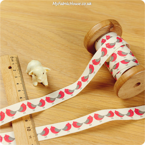 3m cotton ribbon - red birds