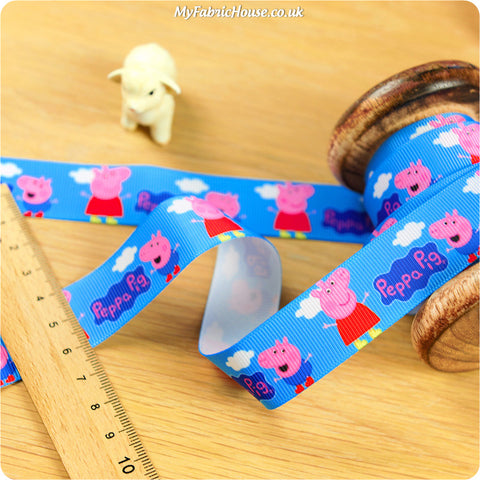3m Grosgrain Ribbon - Kids Blue Peppa Pig | My Fabric House