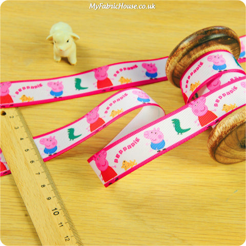 3m Grosgrain Ribbon - Kids Pink Peppa Pig | My Fabric House