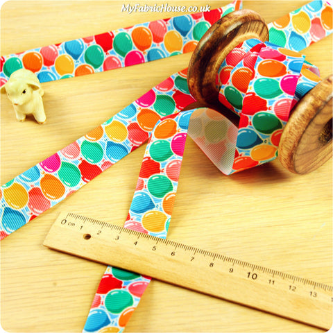 3m Grosgrain Ribbon - Kids Multicolour Balloons | My Fabric House
