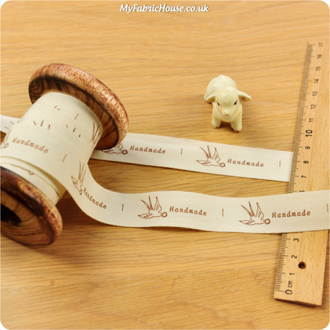 3m cotton ribbon - bird handmade labels