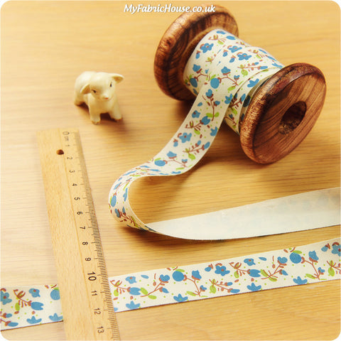 3m cotton ribbon - blue floral