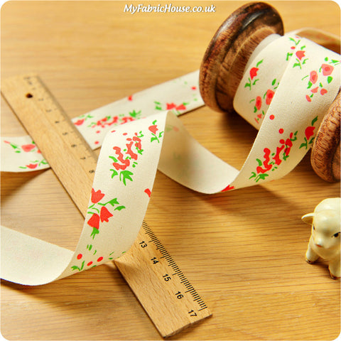 3m cotton ribbon - orange floral
