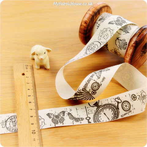 3m Cotton Ribbon - Retro Steampunk | My Fabric House