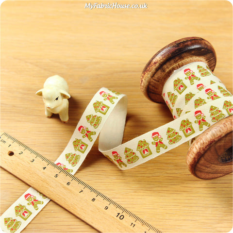 3m cotton ribbon - Christmas green gingerman