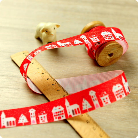 Christmas - 3m red & white snowy streets grosgrain ribbon RB1408-21