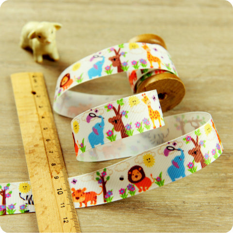 Zoo - 3m white multicolour elephant giraffe & lion grosgrain ribbon RB1604-02