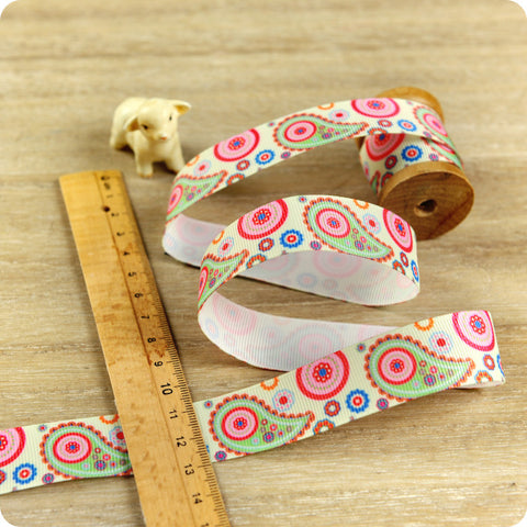 Paisley - 3m pink & mint green grosgrain ribbon RB1604-03