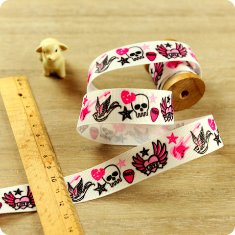 Halloween - 3m pink skull & tattoo grosgrain ribbon RB1604-05