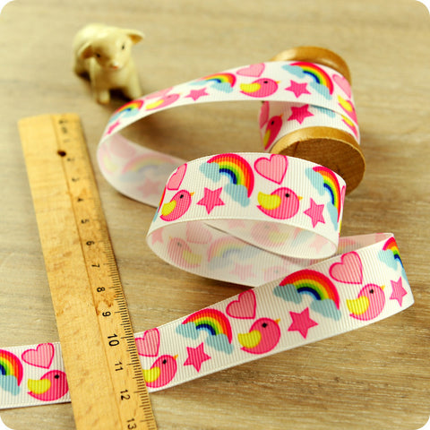 Russian Dolls - 3m pink cute babushka grosgrain ribbon RB1604-01