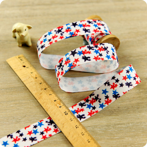 Stars - 3m blue & red distressed starry grosgrain ribbon RB1604-09