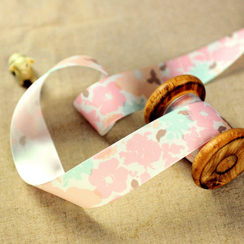 Floral - 2yd pink & blue soft flowers 38mm luxury ribbon RB1806-01A