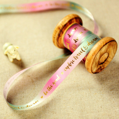 Writing - 2yd gold & pink 'Explore, Travel & Dream' 16mm luxury ribbon RB1806-01B