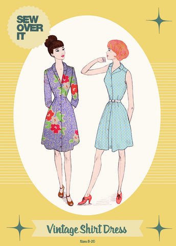 Sew over it - (intermediate level) vintage shirt dress sewing pattern KT1509-12