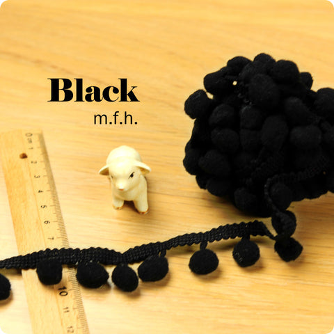 2m bobble trim - pom pom - black