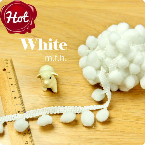 2m bobble trim - pom pom - white