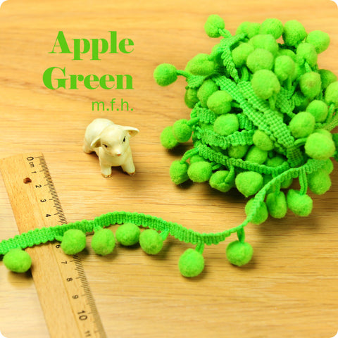 2m bobble trim - pom pom - apple green