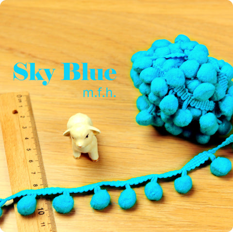 2m bobble trim - pom pom - sky blue