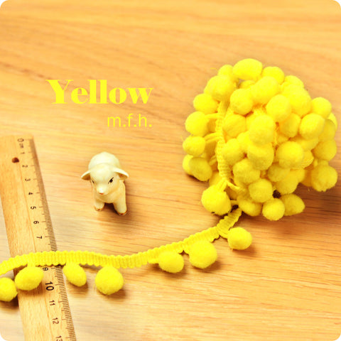 2m bobble trim - pom pom - yellow