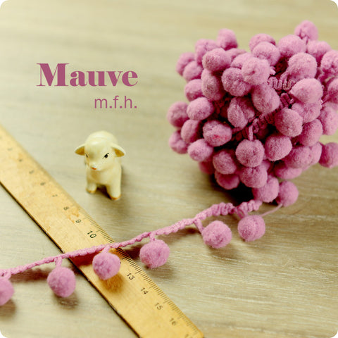 2m bobble trim - pom pom - purple mauve