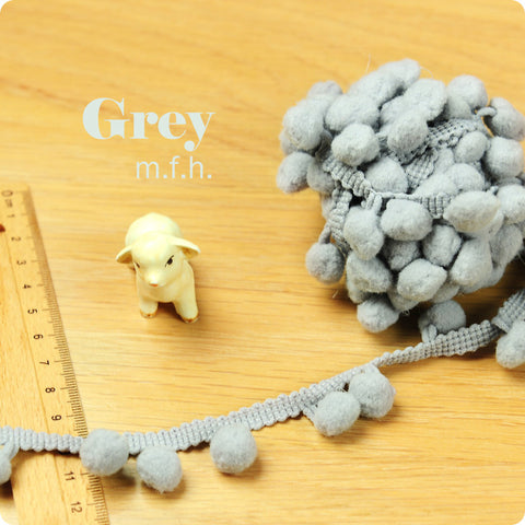 2m bobble trim - pom pom - grey