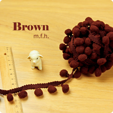 2m bobble trim - pom pom - brown