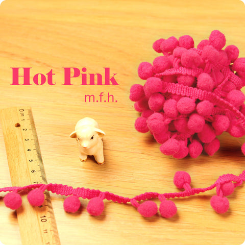 Bobble trim - hot pink pom pom fringe TR1111-27