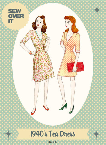 Sew over it - (intermediate level) 1940's tea dress sewing pattern KT1509-08