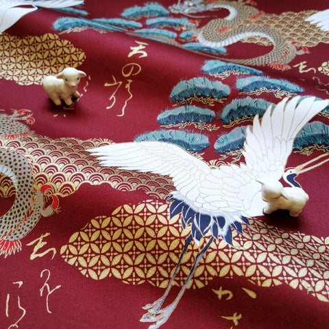 Japanese - red metallic giant cranes & pine tree stretchy cotton fabric W:144cm FQ2006-38