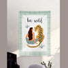 MFH LAB - blue 'Be Wild' girl & tiger virtual meeting backdrop wall hanging WA2101-03