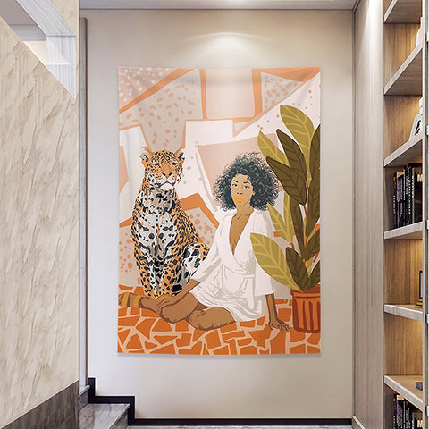 MFH LAB - orange girl & tiger virtual meeting backdrop wall hanging WA2101-04