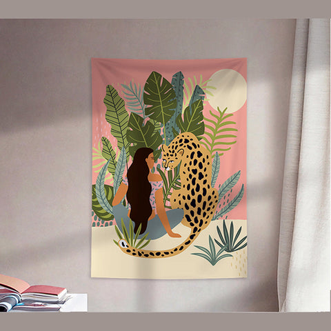 MFH LAB - pink & green girl & tiger in desert virtual meeting backdrop wall hanging WA2101-06