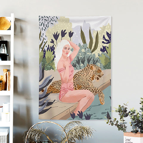 MFH LAB - pink & green poolside girl & leopard virtual meeting backdrop wall hanging WA2101-08