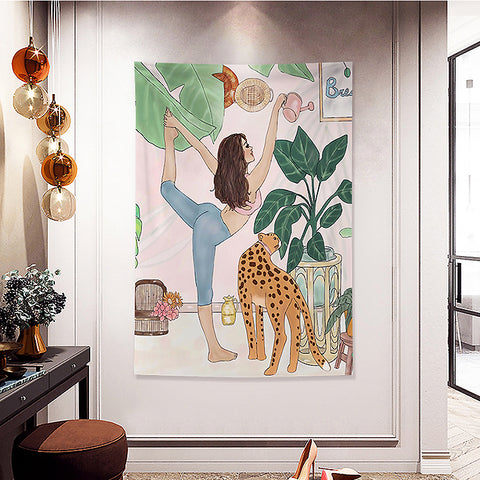 MFH LAB - multicolour yogi girl & leopard virtual meeting backdrop wall hanging WA2101-09
