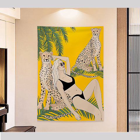 MFH LAB - yellow bikini girl & leopards virtual meeting backdrop wall hanging WA2101-10
