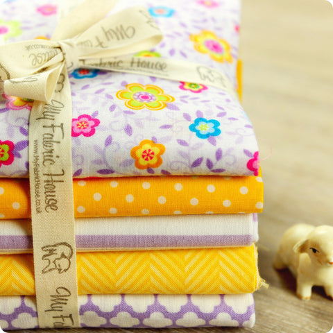 Flowers - purple & yellow cotton fabric bundle 5FQs PK1506-03 (ebay)