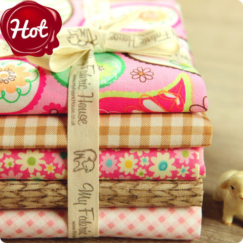 Paisley - pink & beige cotton fabric bundle 5FQs PK1506-05