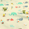 [SALE] Zoo - white elephant & seal circus cotton fabric W:160cm FQ1606-47