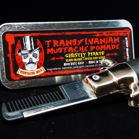 Mustache Wax with Switchblade Comb