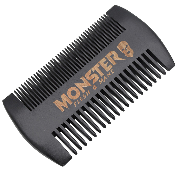 MONSTER Black Wooden Beard and Mustache Comb