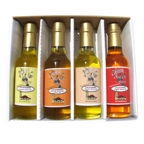 4-Pack Gift Box of Flavored Olive Oils - Lemon, Garlic, Blood Orange, & Chili