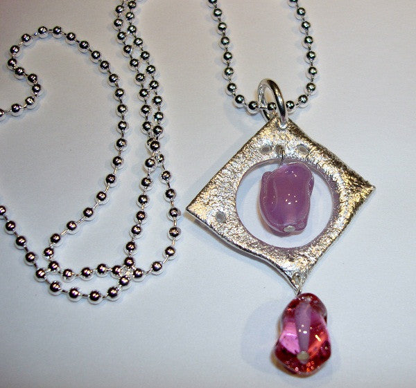 Sterling Pendant with Pink Glass Beads