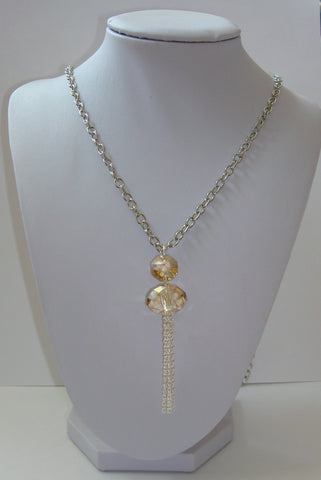 Crystal Tassel Necklace - Golden Shadow