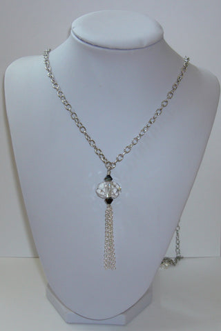 Crystal Tassel Necklace - Crystal Clear and Black