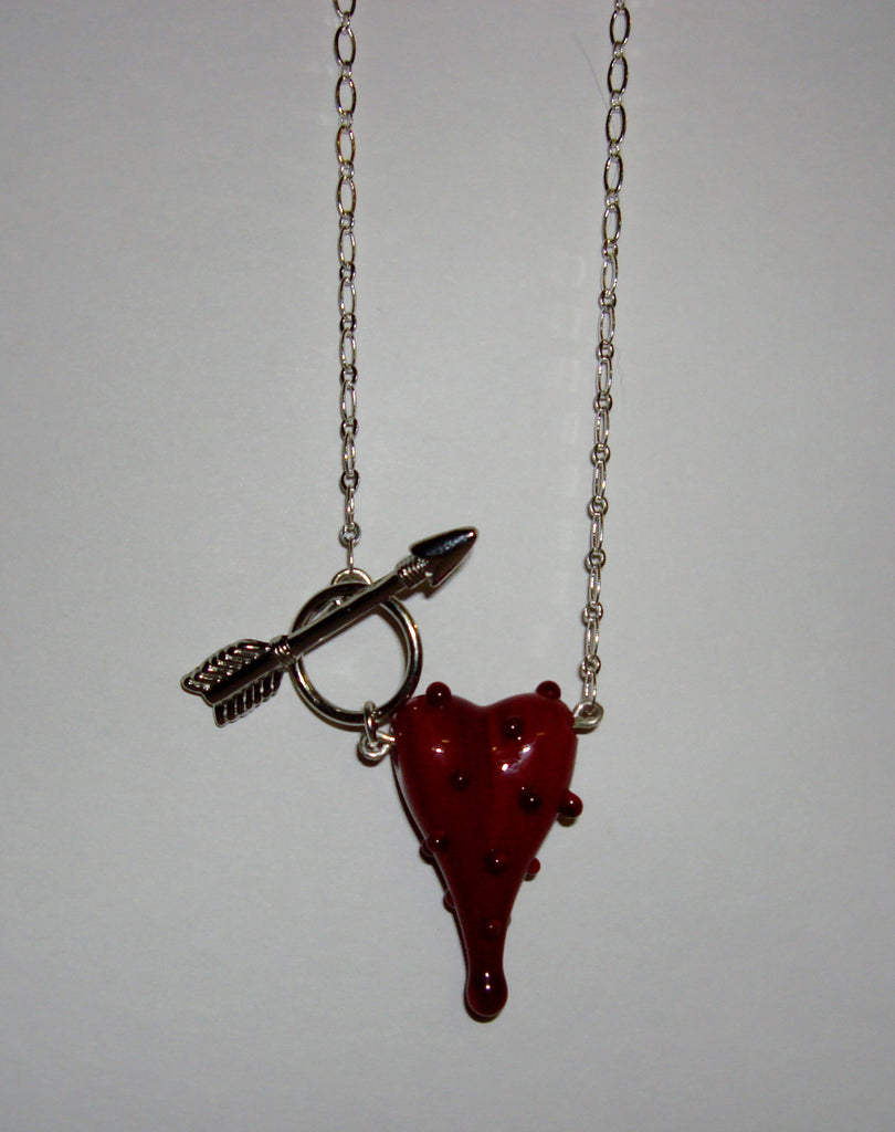 Glass Heart Necklace - Red w/Red Dots