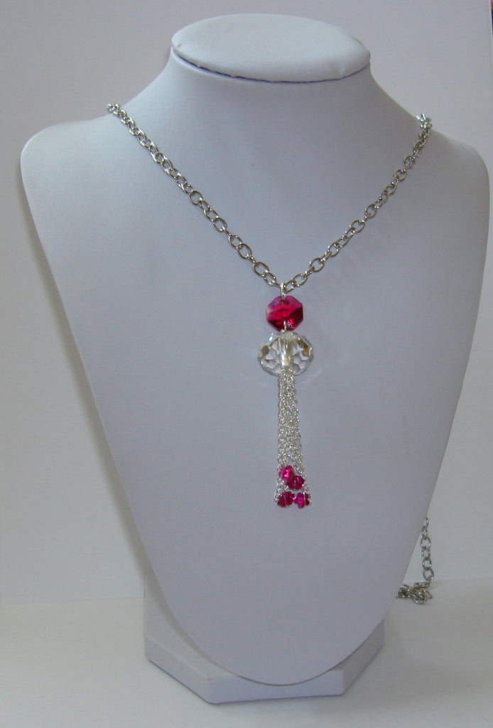 Crystal Tassel Necklace - Crystal Clear and Fuschia