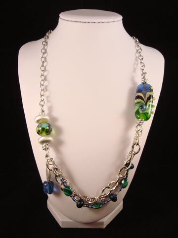 Glass Focal Bead and Multi Chain Necklace - Blue/Green