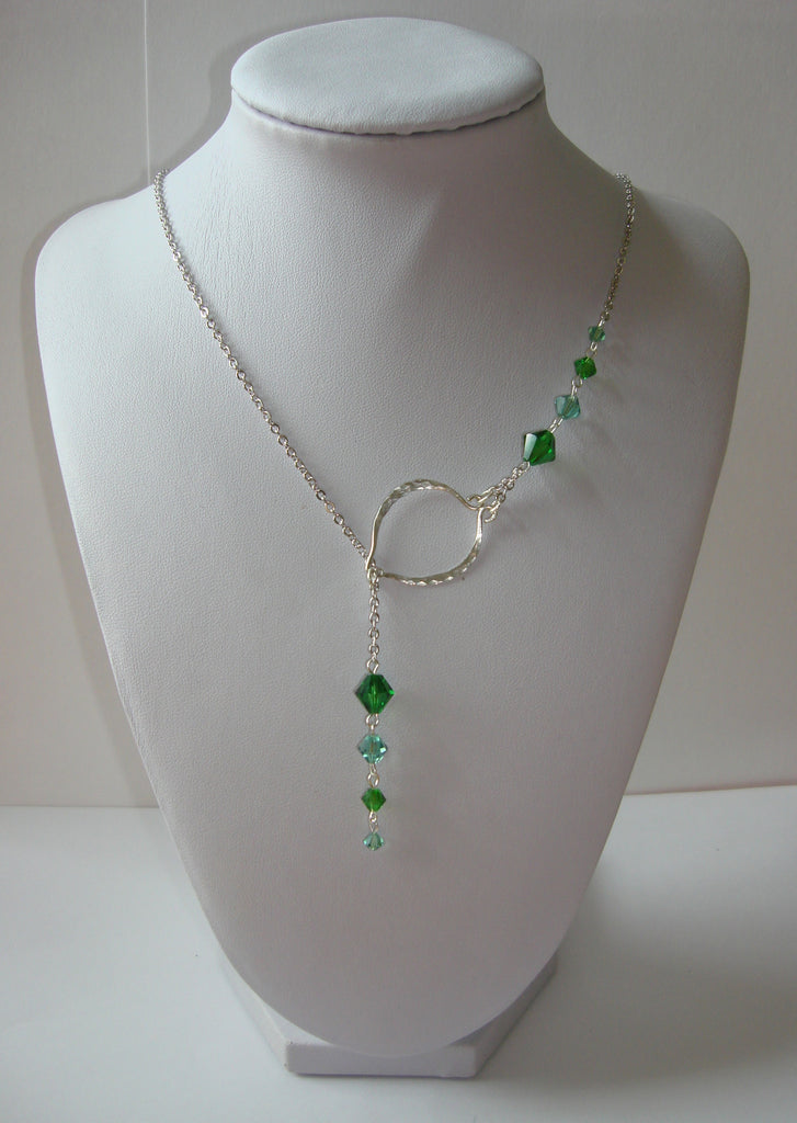 Hammered Lariat Style Necklace - Mini Leaf with Green Crystals