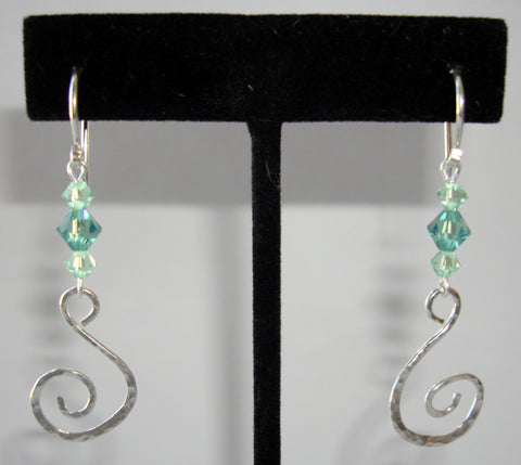 Swirl Earrings with Green Swarovski Crystals