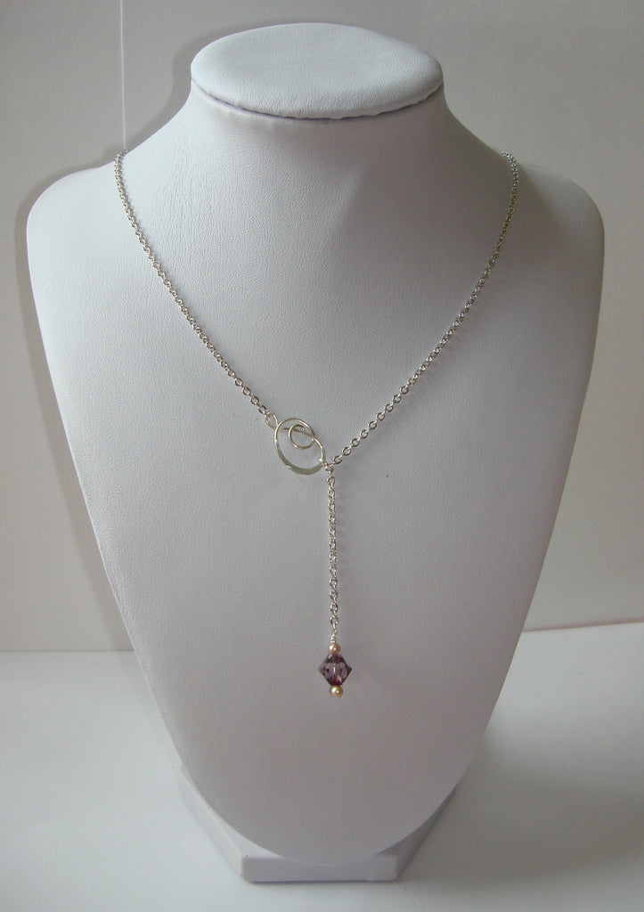 Hammered Lariat Style Necklace - Mini Knot with Pink Crystal